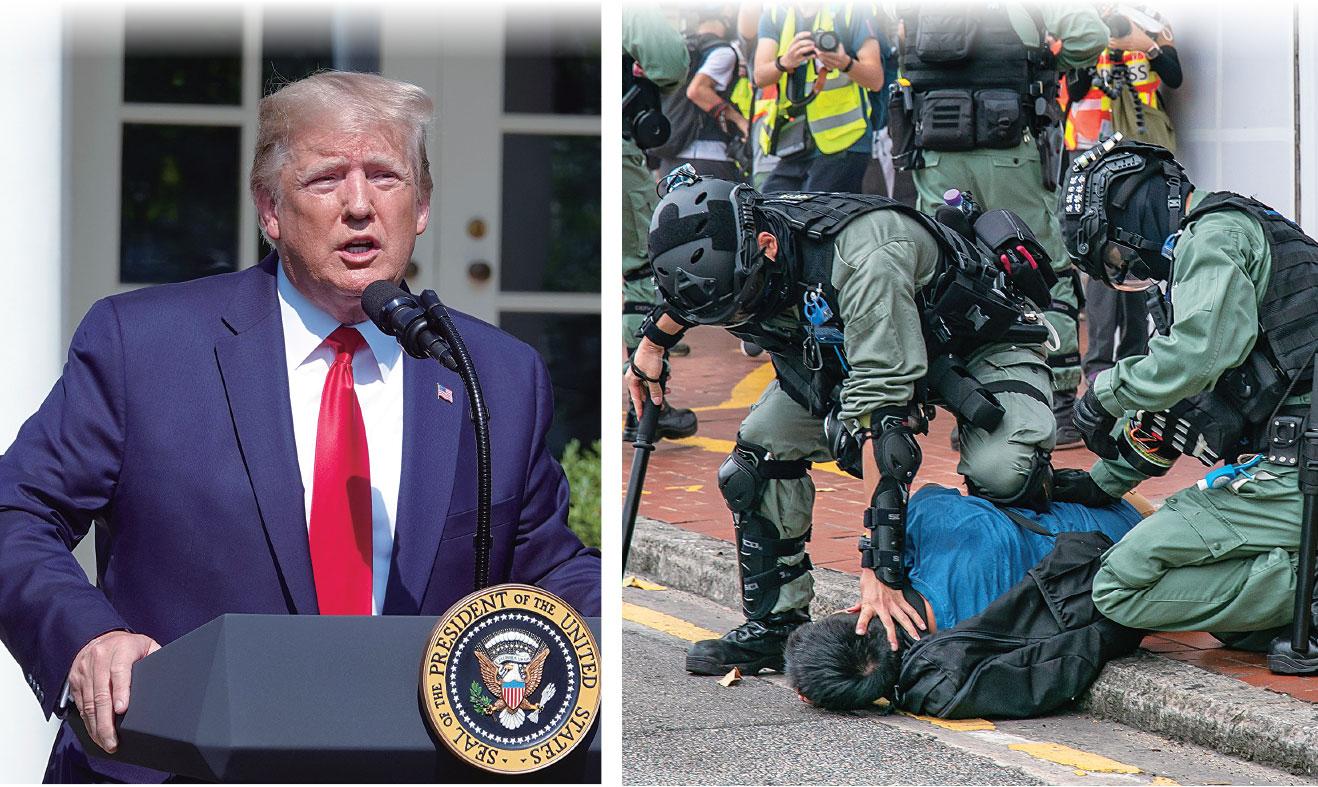 中共強推《港區國安法》後,特朗普簽署法案行政令回擊,中國問題專家馮崇義表示,香港成為冷戰最前線,兩種制度殊死搏鬥。(大紀元合成圖)