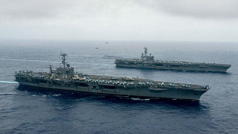 7月17日,美國海軍太平洋艦隊宣佈,美國海軍尼米茲號和列根號航空母艦組成的雙航母戰鬥群重返南中國海。示意圖(Specialist 3rd Class Jake Greenberg/U.S. Navy via Getty Images)