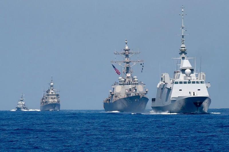 外界分析,美中雙方在南海爆發熱戰是大概率事件。圖為美國戰艦資料圖。(JACK GUEZ/AFP via Getty Images)