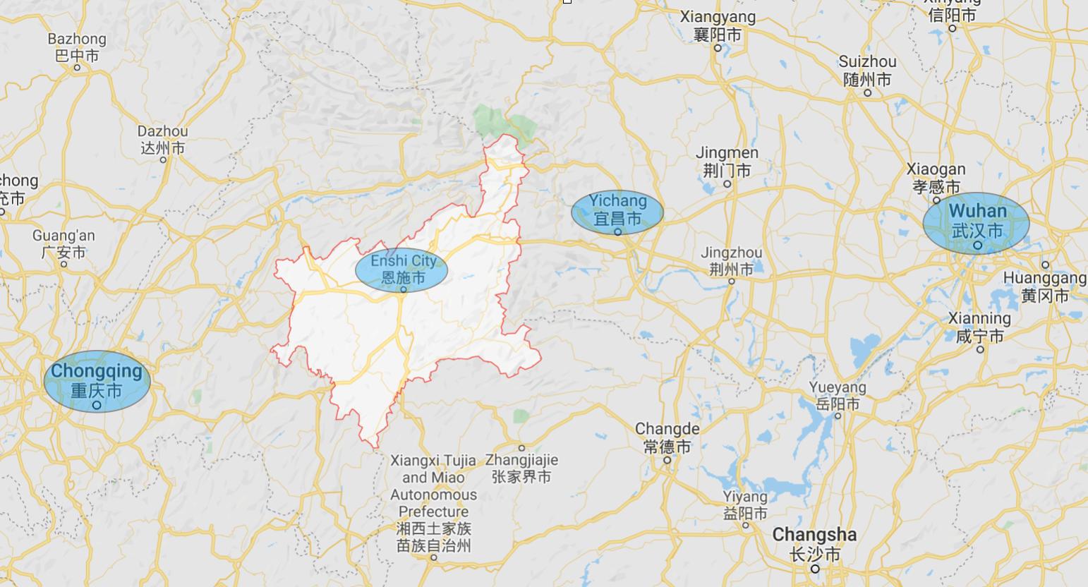 長江迎來2號洪峰,三峽洩洪,湖北恩施泡在水中。(Google Map)