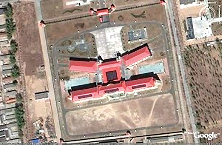 北京女子監獄K字型樓衛星定位實圖。(谷歌地圖)