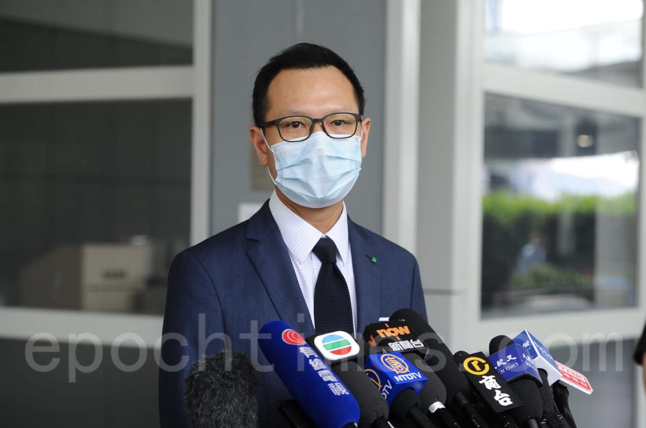 公民黨郭榮鏗今天(7月20日)早上宣佈再競逐法律屆功能組別的立法會議席。(宋碧龍/大紀元)