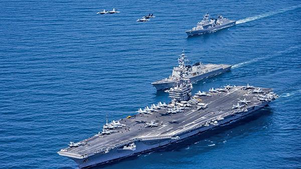 最近一段時間,美國兩艘航母在南海附近來來去去,不走了,和各國海軍不斷搞軍演。(AFP)