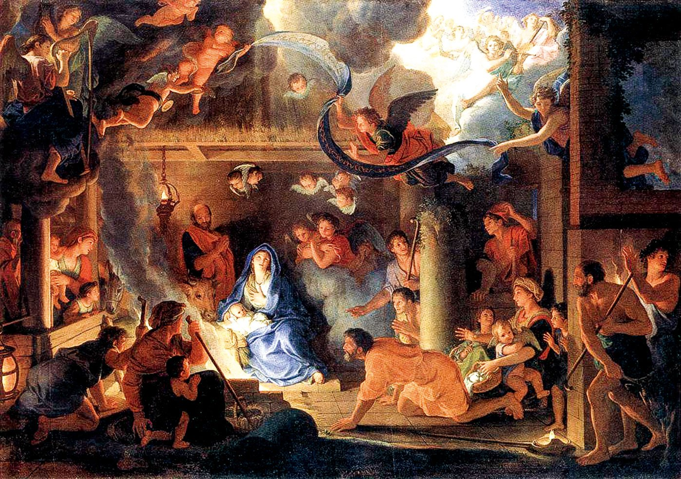 法國皇家藝術學院院長勒布倫作品《牧羊人的仰望》,1689年,油畫,151 x 213公分,現藏於巴黎羅浮宮。(公有領域)