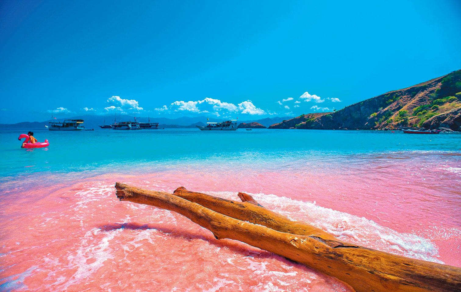 湛藍海水映襯粉紅沙灘,如童話世界。