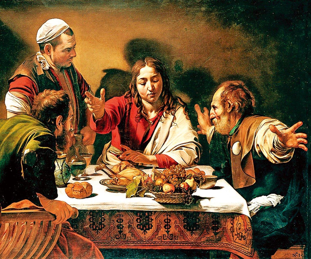 卡拉瓦喬(Caravaggio)1601年作品,《以馬忤斯的晚餐》(Supper at Emmaus),倫敦國家美術館收藏。 卡拉瓦喬將自己畫在左上角。(公有領域)