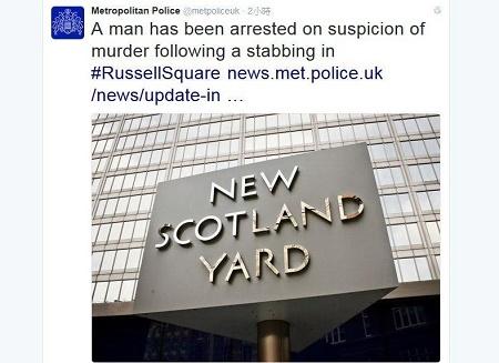 倫敦警方4日表示,在斬人案現場遭拘押的19歲男子,已經因涉嫌謀殺被逮捕。(倫敦警方總部推特twitter.com截圖)