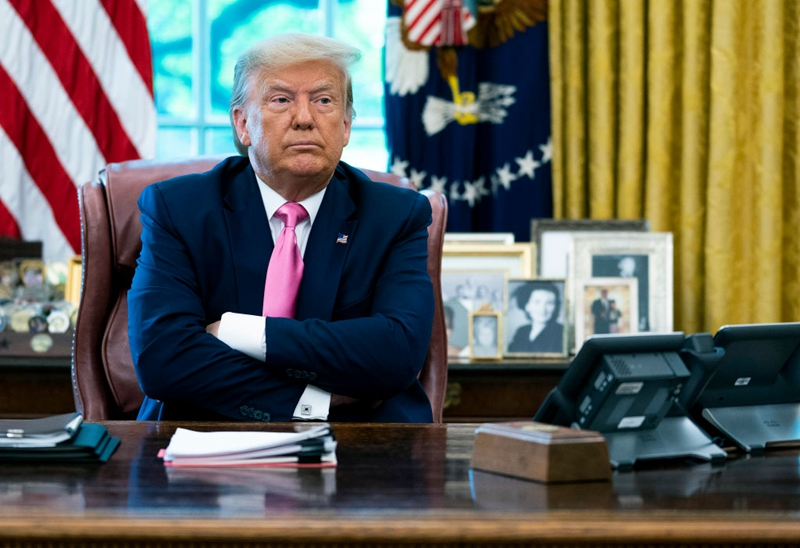 特朗普總統7月21日下令驅逐休士頓中領館,並限其在72小時內關閉。資料圖( Doug Mills-Pool/Getty Images)