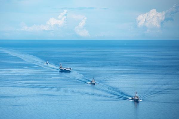 美國已做好戰爭準備,近日,美、日、澳三方在菲律賓海域進行聯合軍演。(美國海軍網站)