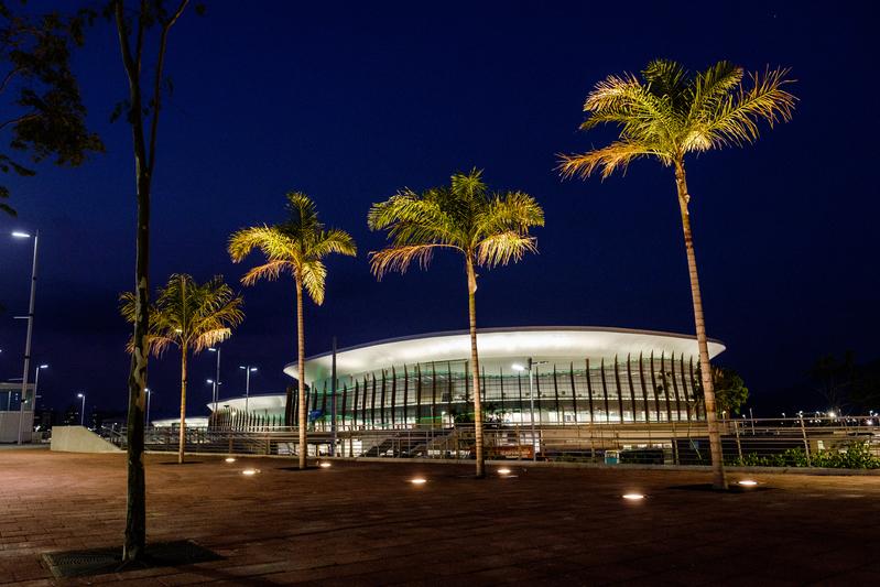 奧林匹克公園內的卡里奧卡競技場1,2,3(從右到左)。(YASUYOSHI CHIBA/AFP)
