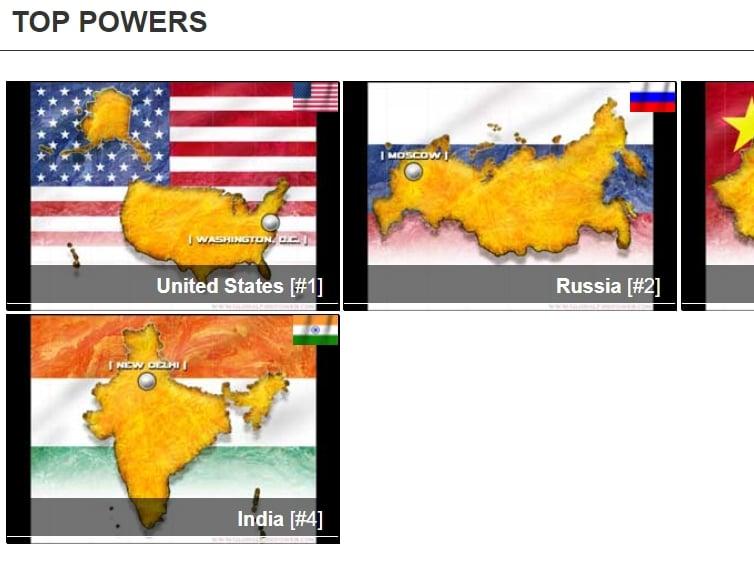 7月21日,美國網站「全球火力」(Global Fire Power)最新發佈2020年全球軍力排行榜。在138個國家中,印度排名第四。(網絡截圖)