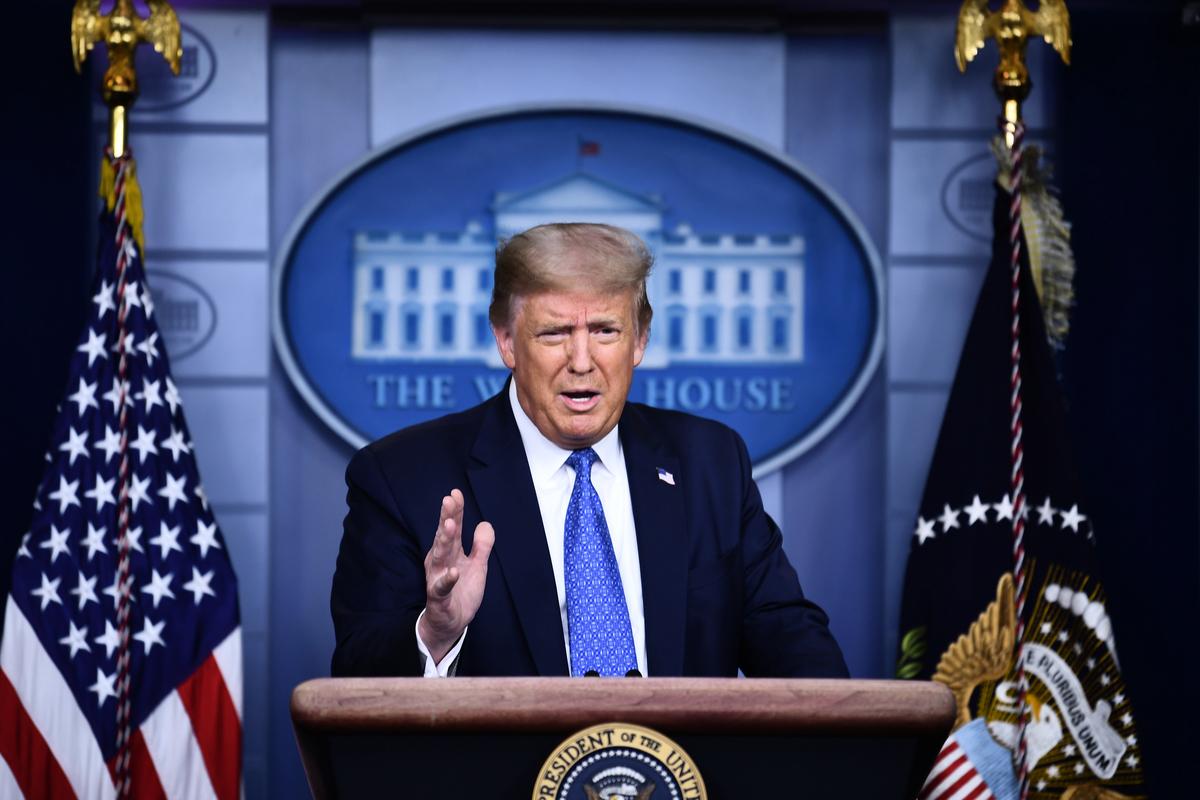 美國總統特朗普7月22日表示,「永遠有可能」下令關閉更多中國駐美領事館。(Brendan Smialowski/AFP)