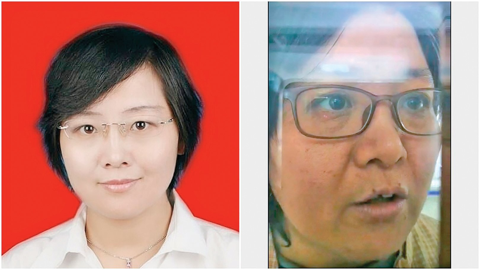 豐曉燕證件照(左)和被關精神病院後的豐曉燕(右)。(受訪人提供)