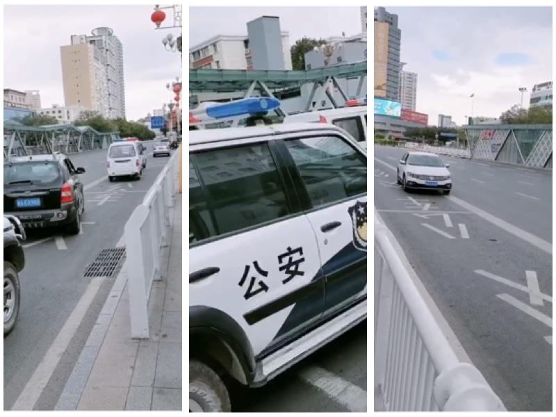 烏魯木齊街頭空屋一人,到處是警車。(受訪者提供)
