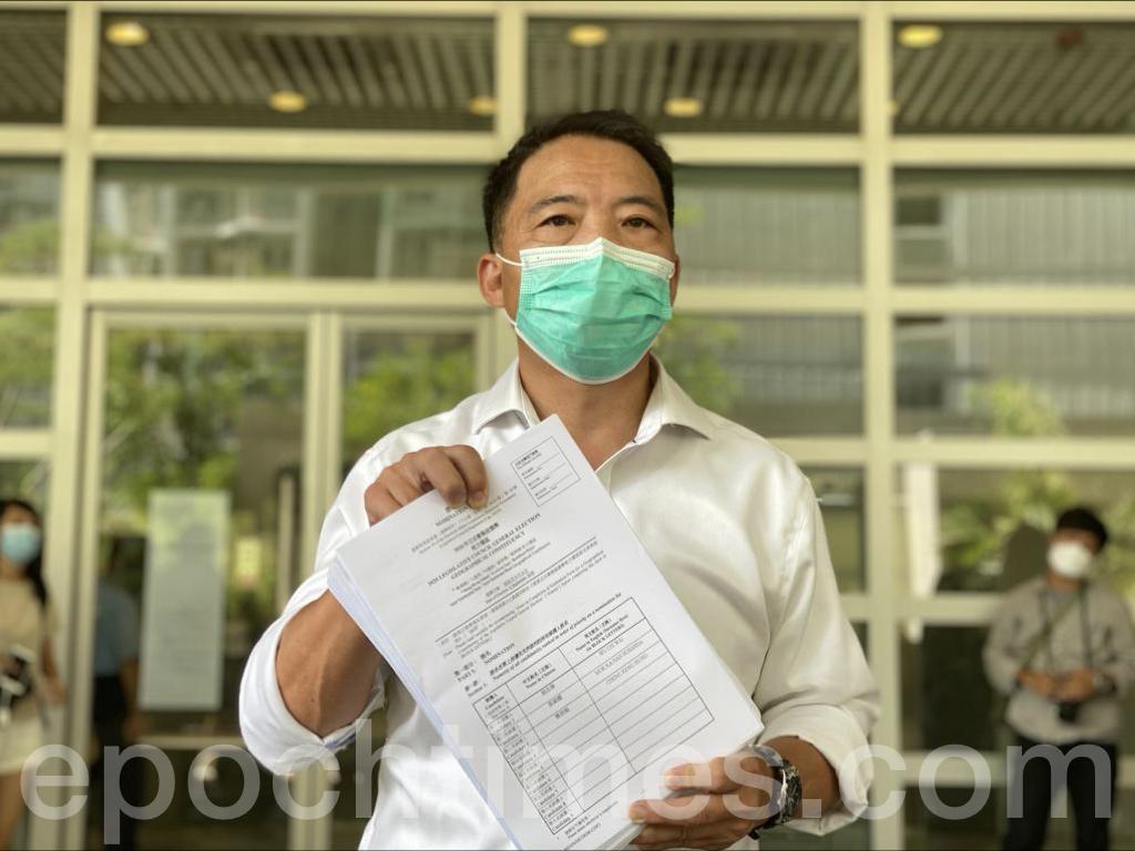 民主黨主席、立法會議員胡志偉報名參加2020年立法會選舉九龍東直選。胡志偉認為,「香港人反抗」是這次選舉最重要的主題。(霄龍/大紀元)