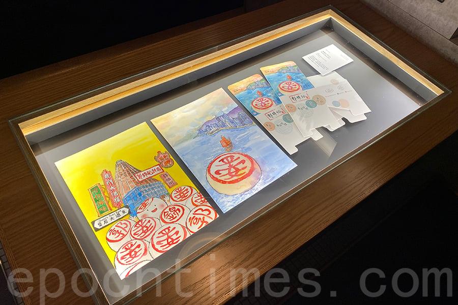慧惠在阿銀冰室舉辦個人畫展,除了餐廳的陳列外,餐廳內的餐檯也有作品展示。(陳仲明/大紀元)