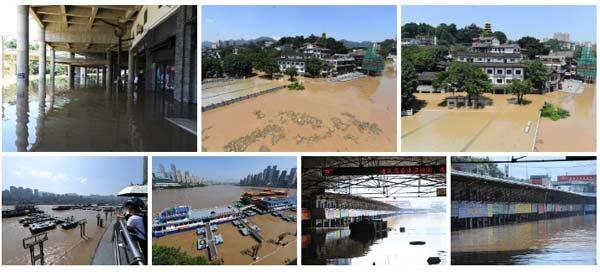 重慶水位2天暴漲7米 三峽大壩下游數十萬百姓逃難