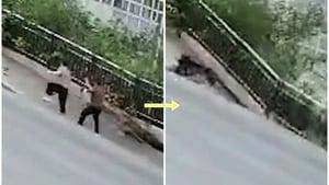 太恐怖!重慶道路突塌 2樓深巨坑瞬間吞兩人(影片)