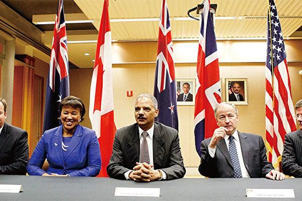 五眼聯盟的所有成員都對「港區國安法」做出了實際的應對行動,四個國家中止了與香港的引渡條約。圖為2010年五國在華盛頓特區討論反恐合作等問題。(Getty Images)