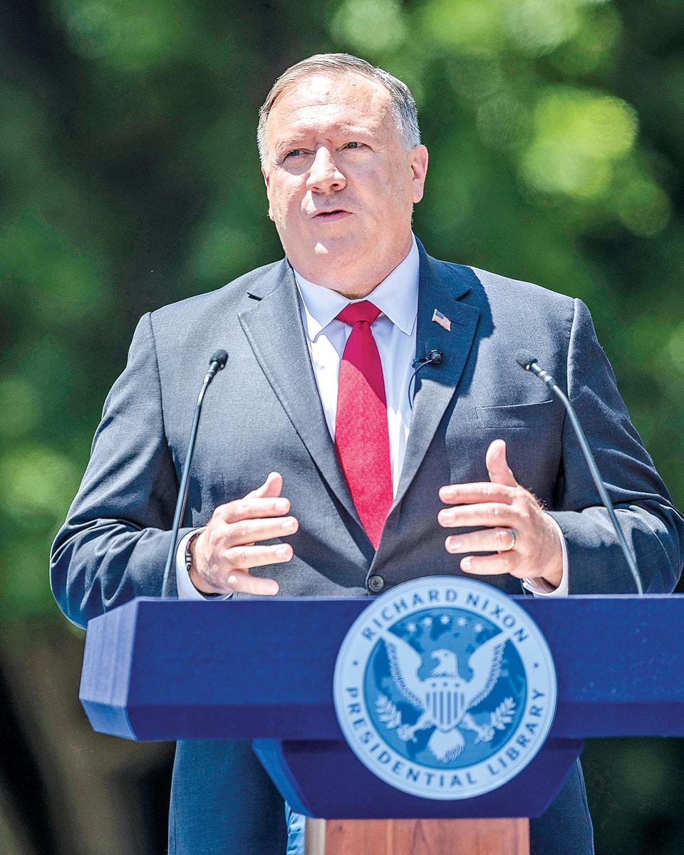 2020年7月23日,美國國務卿蓬佩奧在加利福尼亞州發表重磅演講。(Getty Images)