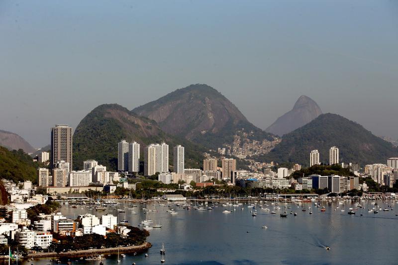 鳥瞰里約熱內盧的瓜納巴拉灣和博塔弗戈。(Matthew Stockman/Getty Images)