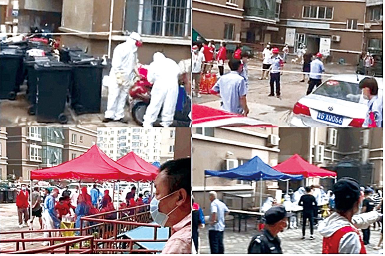 7月27日,大連的疫情已擴散到北京。圖為北京天通苑三區的所在樓區居民排隊進行核酸檢測。(影片截圖)