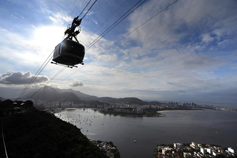 里約熱內盧的奧庫卡山纜車。(ANTONIO SCORZA/AFP)