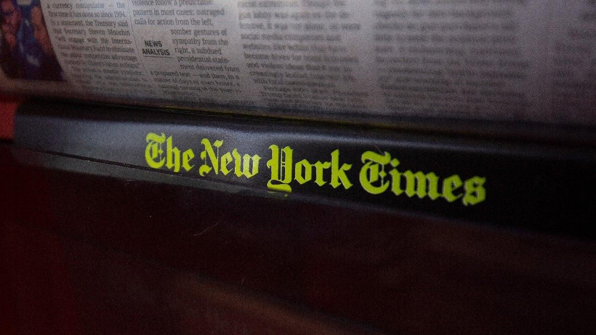 《紐約時報》是支持清華大學「全球財經新聞」項目(GBJ)的西方老牌媒體之一。(ALASTAIR PIKE/AFP via Getty Images)