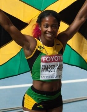 29歲的雪莉安費莎也是唯一3次登上世界100米冠軍的選手。(維基百科公有領域)