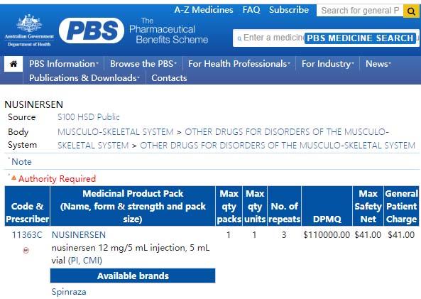 澳洲衛生部官網查詢顯示,注射5毫升的諾西那生鈉(nusinersen),享受藥物福利計劃(Pharmaceutical Benefits Scheme)的病人只需支付$41(General Patient Charge)。(網頁截圖)