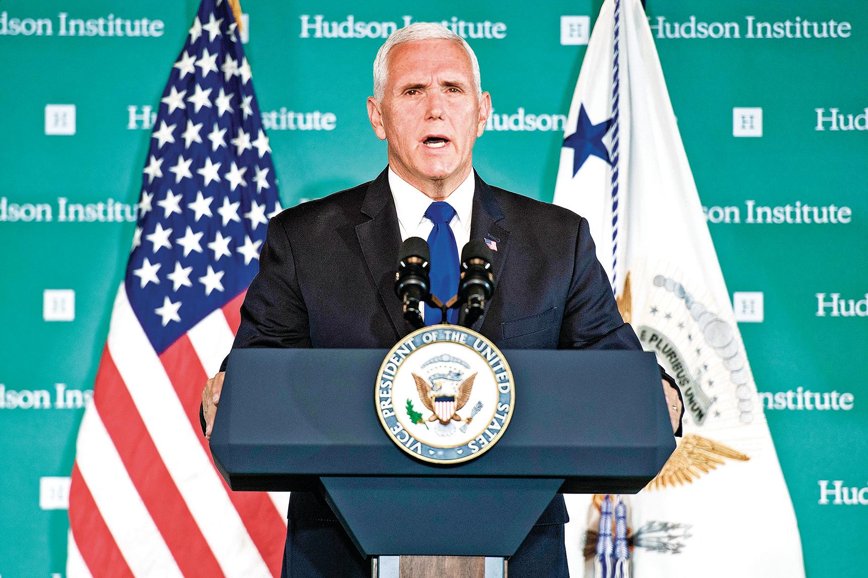 2018年10月4日,美國副總統彭斯在華盛頓智庫哈德遜研究所發表演講,從多方面向中共「開火」(JIM WATSON/AFP/Getty Images)