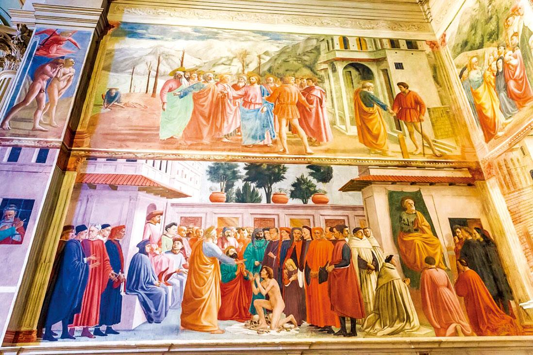 布蘭卡契小堂的左側牆面為馬薩喬的壁畫。左上:《逐出伊甸園》(The Expulsion from the Garden of Eden)。中上:《獻金》(The Tribute Money)。中下:《提阿非羅的兒子復活和聖彼得登基》(The Raising of the Son of Theophilus and St. Peter Enthroned)。右上:《聖彼得傳道》(St. Peter Preaching)。(Anna Pakutina/Shutterstock.com)