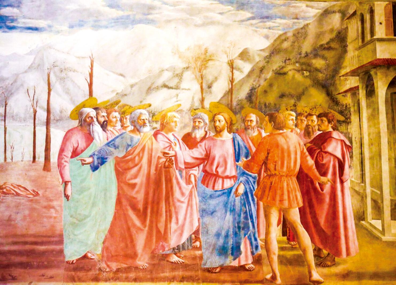 馬薩喬的壁畫《獻金》中,彼得和耶穌的局部放大圖。(Jorisvo/Shutterstock.com)