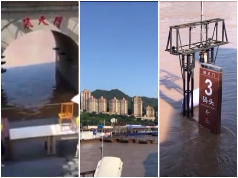 重慶朝天門被淹,碼頭被淹到只剩標竿。(影片截圖合成)