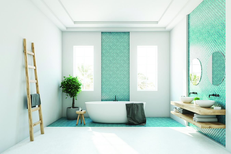 開放式浴室的洗面台必須像酒店那樣擺放整齊,才能看起來美觀。
