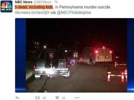 美國媒體報道,6日賓州1家5口驚傳遭人槍殺,陳屍家中,死者包括3名兒童,最小的受害者據信不到3歲。這疑似是一起殺人後自殺案。(NBC News推特截圖)