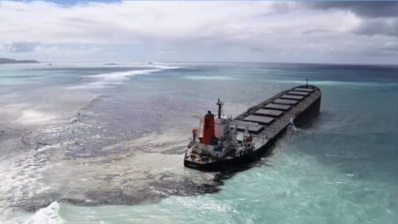 懸掛巴拿馬旗的日本貨輪MV Wakashio,兩周前在模里西斯東南部德斯尼角外海觸礁,大量燃油漏出。(影片截圖)