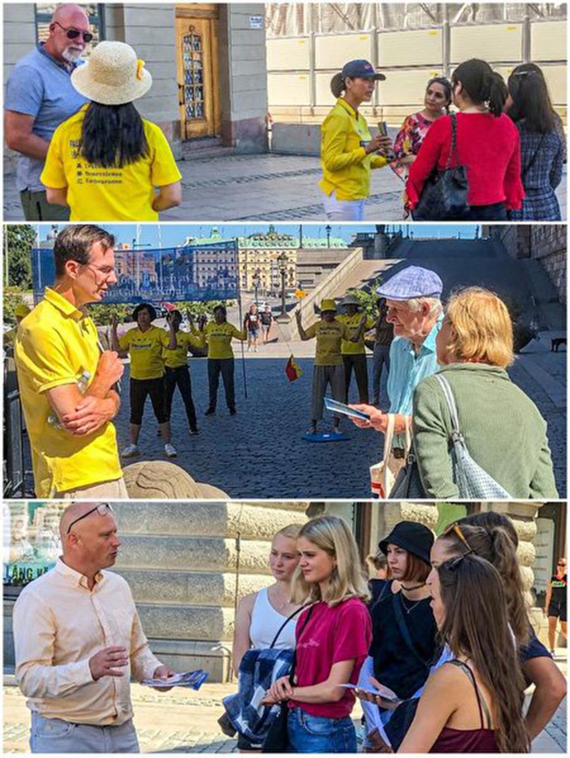 瑞典民眾駐足詳細了解法輪功真相。(明慧網)
