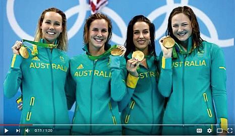 在女子4X100米自由泳接力決賽中,坎貝爾姐妹領軍的澳洲隊以3分30秒65的成績奪得金牌,並刷新世界紀錄。(youtube視頻截圖)