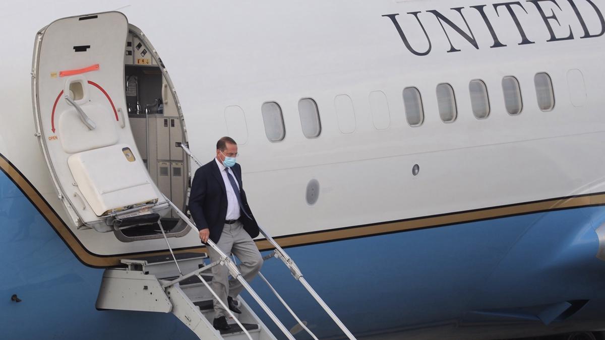 美國衛生部長阿扎(Alex Azar)8月9日下午率團訪問台灣。(CHEN/POOL/AFP via Getty Images)