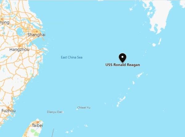 「南海戰略態勢感知計劃」(SCS)稍早指出,發現美國航空母艦在東海巡弋。(翻攝自SCS推特)