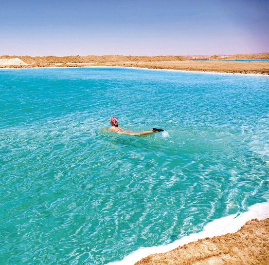 在清澈的鹽池中泡水。