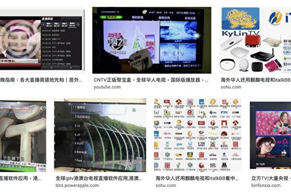 中共的宣傳機器強勢運作,上網隨便一搜索,就能看到「海外華人看大陸影片」等各種工具。(網絡搜索頁面截圖)