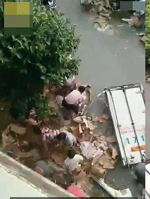 貨車江蘇鹽城遇車禍 十噸豬肉被搶走七噸