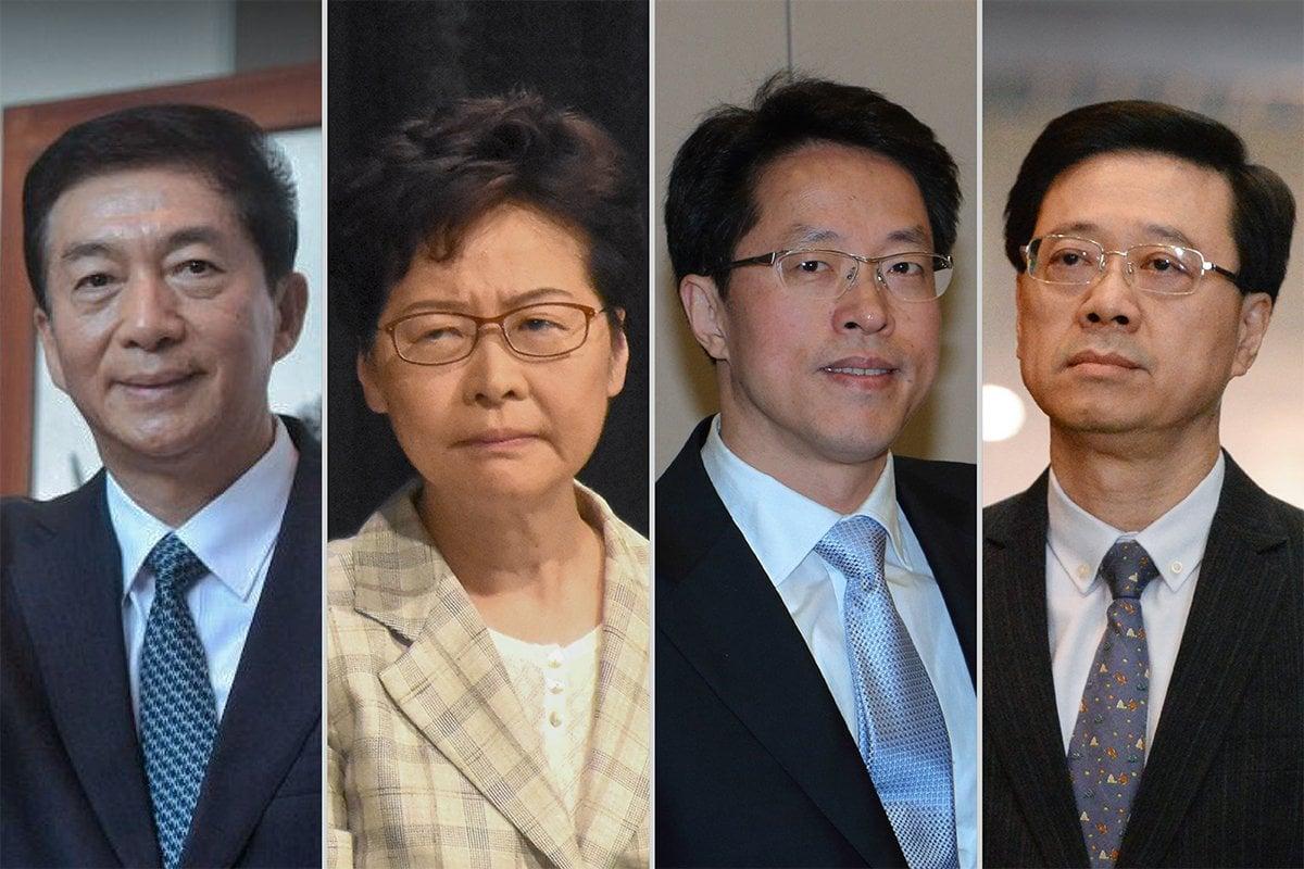 8月7日,美國財政部宣布制裁11名中港官員,包括(從左到右)中聯辦主任駱惠寧、香港特首林鄭月娥、港澳辦副主任張曉明以及香港保安局局長李家超。(大紀元製圖)