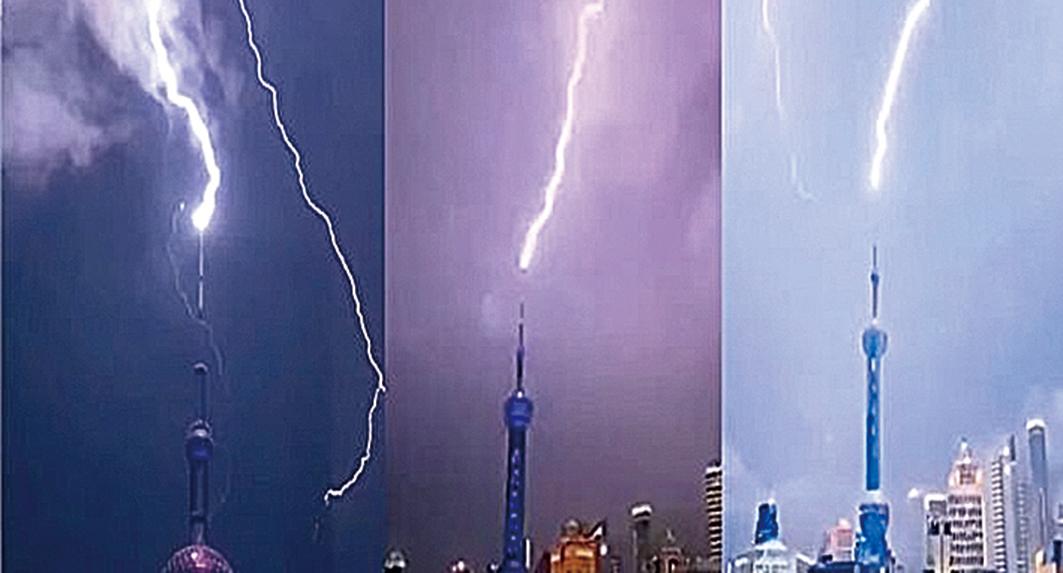 8月10日晚間,上海東方明珠塔尖被閃電擊中。(影片截圖)
