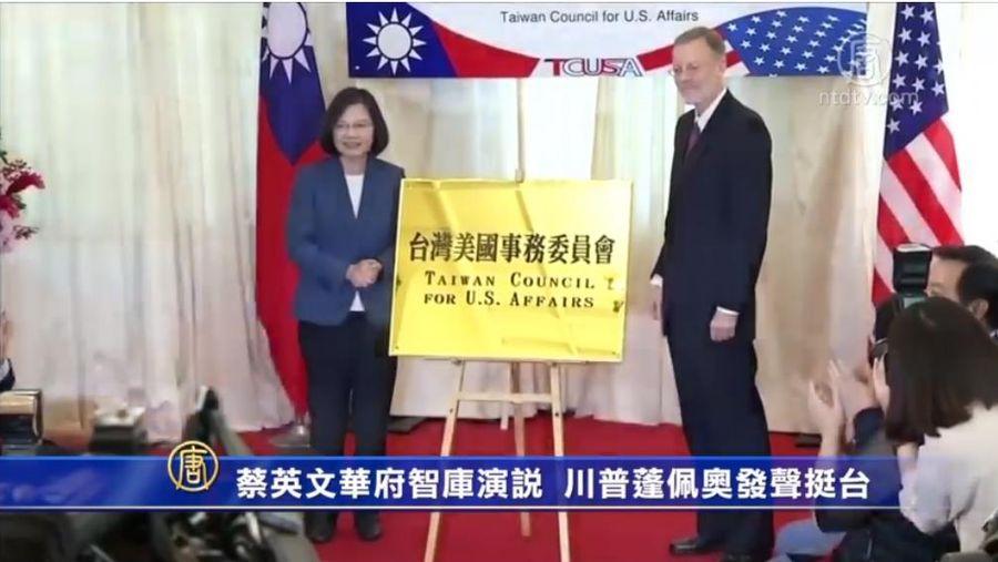 中華民國總統蔡英文8月12日在華府智囊就深化台美關係發表視像演講。同一天,美國國務卿蓬佩奧公開支持捷克參議院議長訪問台灣。總統特朗普日前受訪時,也稱讚台灣防疫有成。(影片截圖)