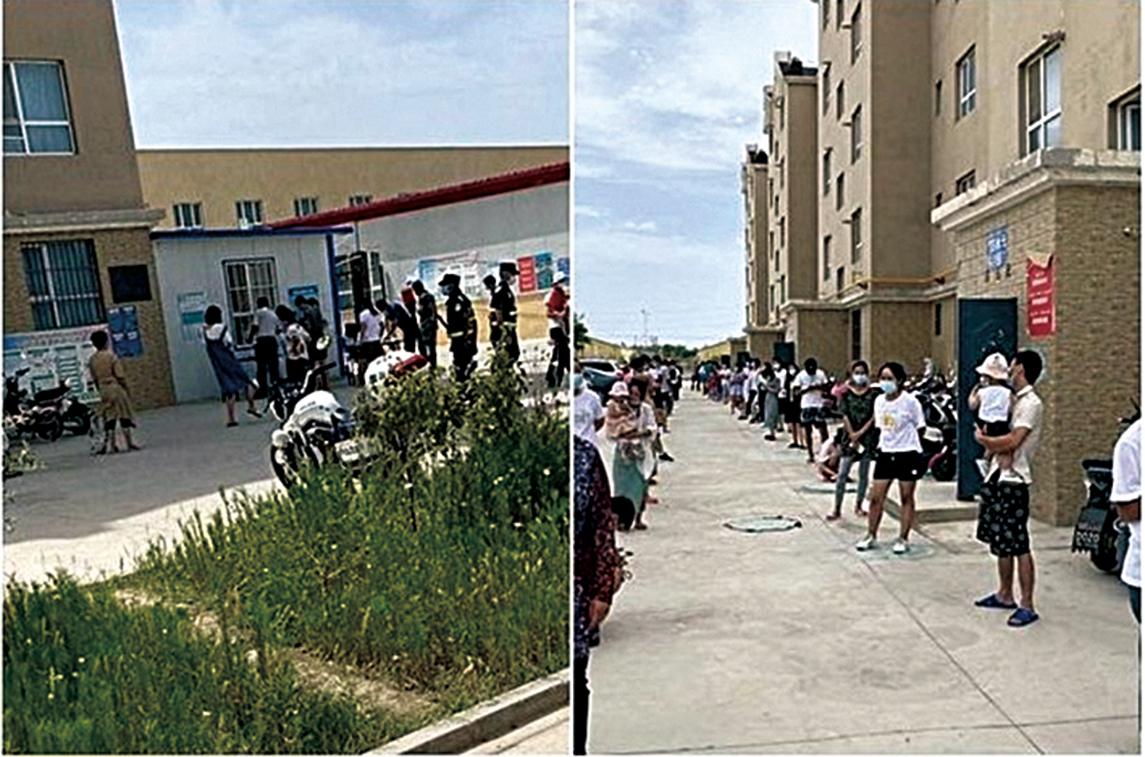 因疫情嚴重,新疆官方採取強制封閉管理措施。圖為8月9日阿克蘇地區庫車縣,核酸檢測現場。(受訪人提供)
