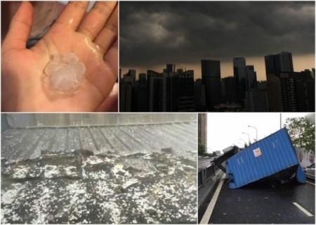 成都市7日下午突然風雨大作,還夾雜冰雹。(網絡圖片)