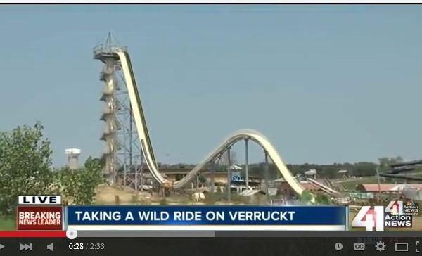 美國堪薩斯州堪薩斯城警方表示,一名12歲男孩在當地遊樂園水上滑梯上意外死亡。(視像擷圖)